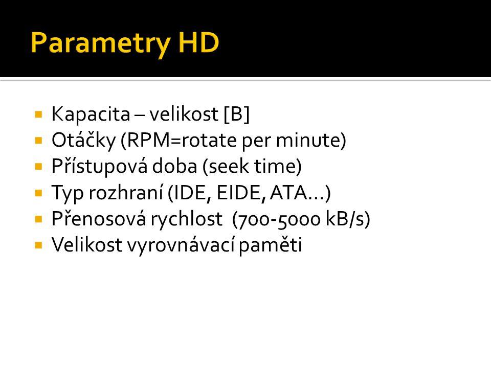 Parametry HD Kapacita – velikost [B] Otáčky (RPM=rotate per minute)